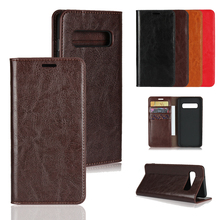 LUCKBUY For Samsung Galaxy S10 Classic Genuine Leather Wallet Stand Flip Credit Card Pockets for Samsung S10 Plus/S10 Lite Brown цена
