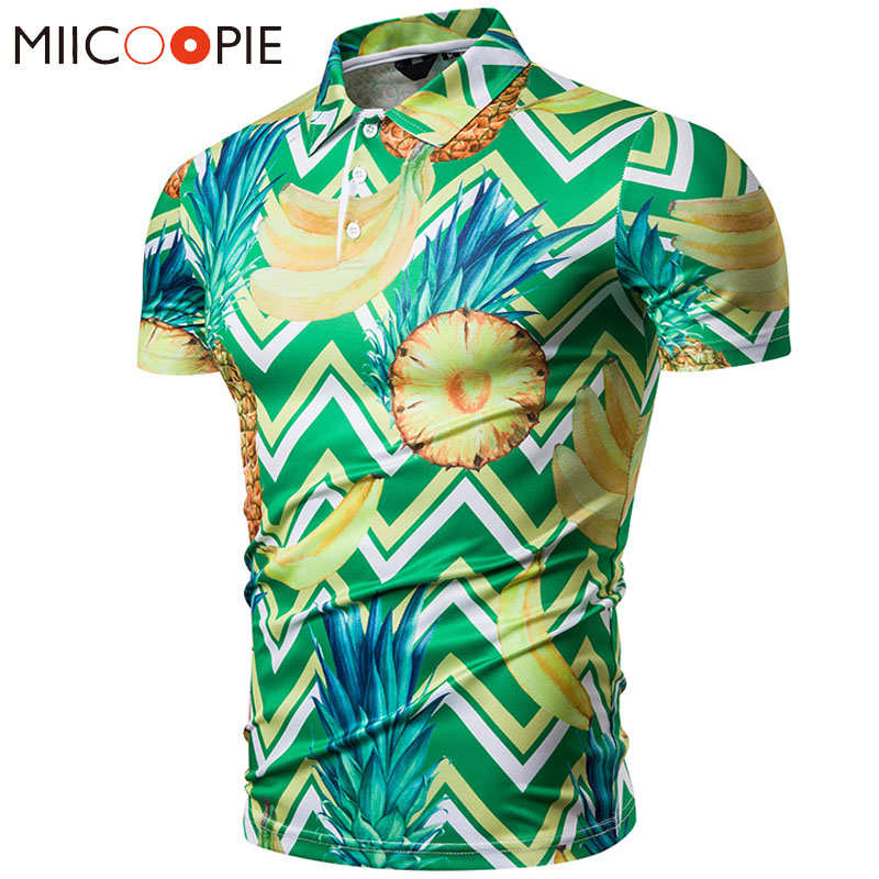 Men   Polo   Shirt 2019 New Summer Causal Pineapple Fruit Printed Hawaii   Polos   Hombre Manga Corta Tops Camisa   Polos   Masculina M-XXL