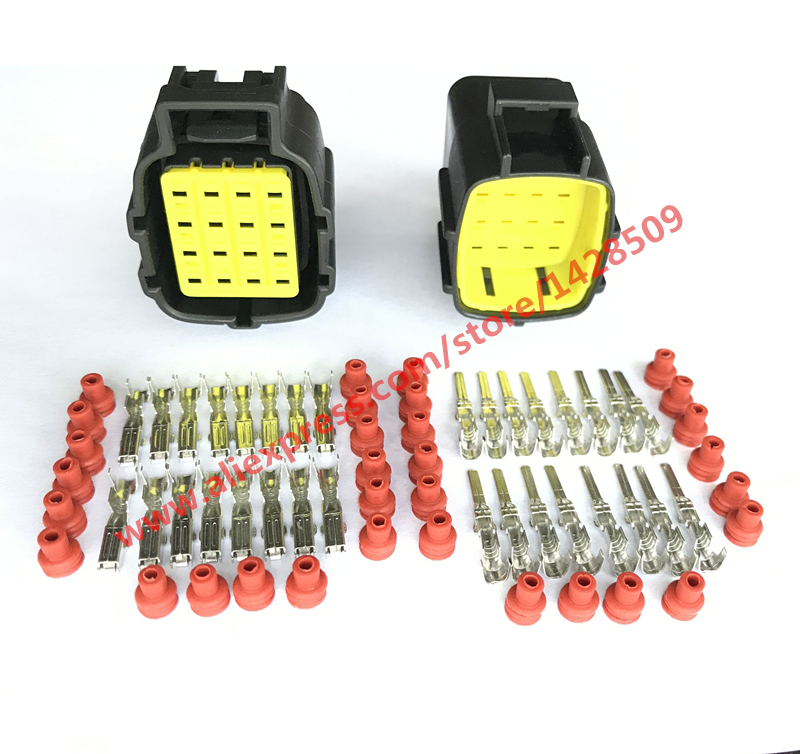 5 Sets Tyco/Amp 16 Way/Pin Auto Connector For Denso 368047-1/368049-1 368050-1 Female And Male Automotive Connector