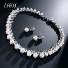 ZAKOL Trendy Imitation Pearl Bridal Wedding Jewelry Sets AAA Cubic Zircon Earrings Necklace Set For Women