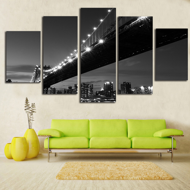 Brooklyn Bridge Canvas Painting 5 Pieces Wall Art American Home Decor Black Picture For Living Room