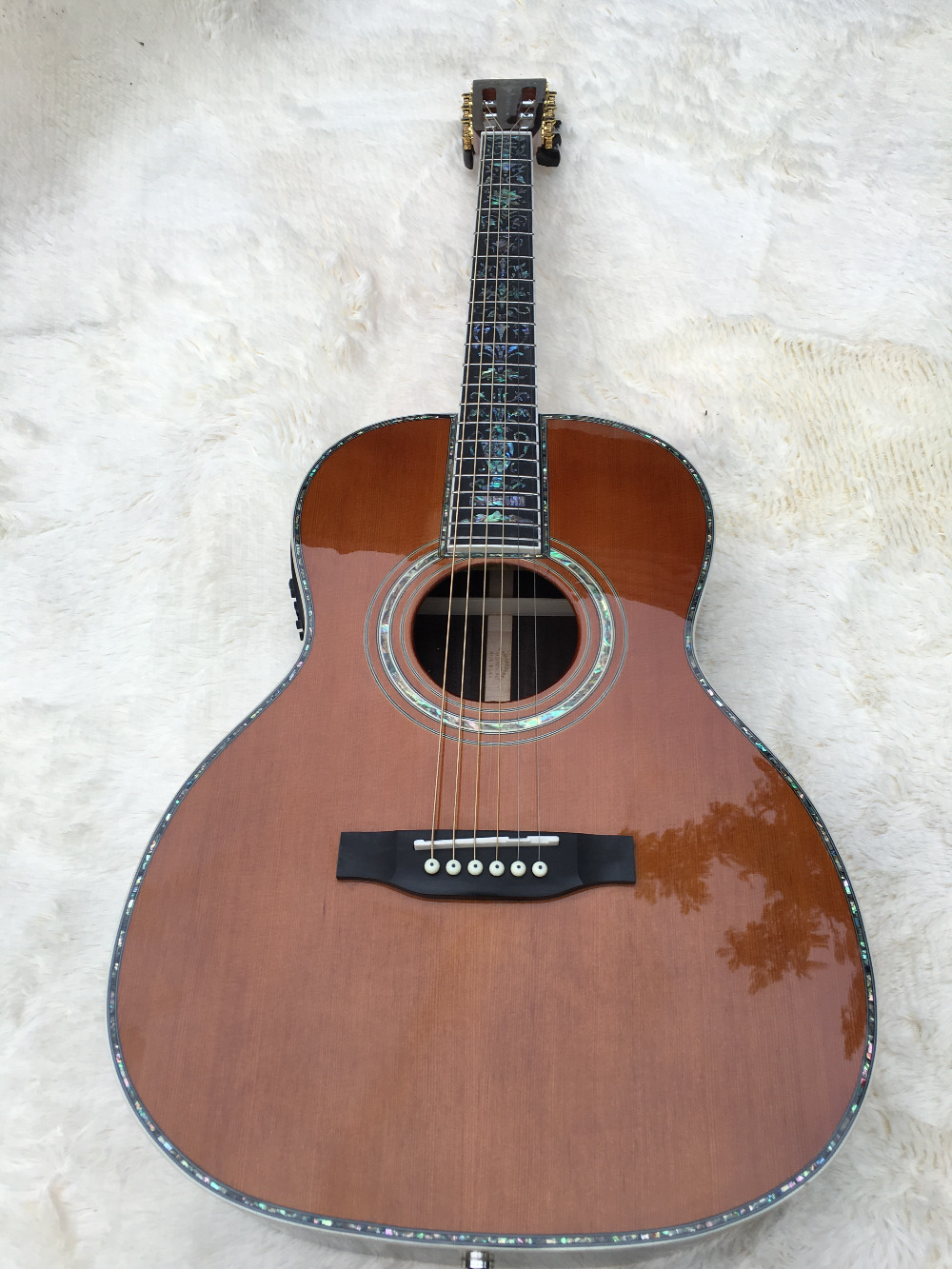 2016new+handmade 39 inch classical acoustic guitar natural AAA Solid spruce Tree of life inlay fret board Abalone Binding Body feng shui natural citrine gem stone money tree 9 inch yellow crystal money tree