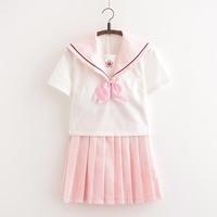 UPHYD Sakura School Dress Lolita Pink JK Japanese School Uniforms Top+Skirt+Tie Teen Girls Anime Cosplay Sailor Suits XJ7201