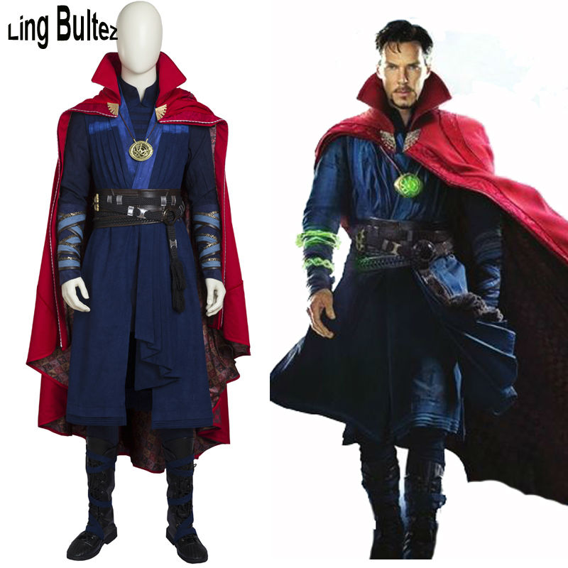 Ling Bultez High Quality Doctor Strange Cosplay Costume Set With Cape With Boots With Necklace