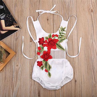 Новинка 2017 года, милая Одежда для новорожденных девочек 3D Цветок спинки комбинезон одежда в загородном стиле