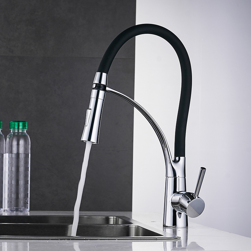 Kitchen Faucets with Rubber Design Chrome Mixer Faucet for LED Kitchen Single Handle Pull Down Deck Kitchen Faucets with Rubber Design Chrome Mixer Faucet for LED Kitchen Single Handle Pull Down Deck Mounted Crane for Sinks 7661