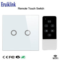 EU Wireless Remote 2 Gang RF433 Touch Wall Switch Smart Home Broadlink App Wifi Control Wall Light Switch For Home Automation
