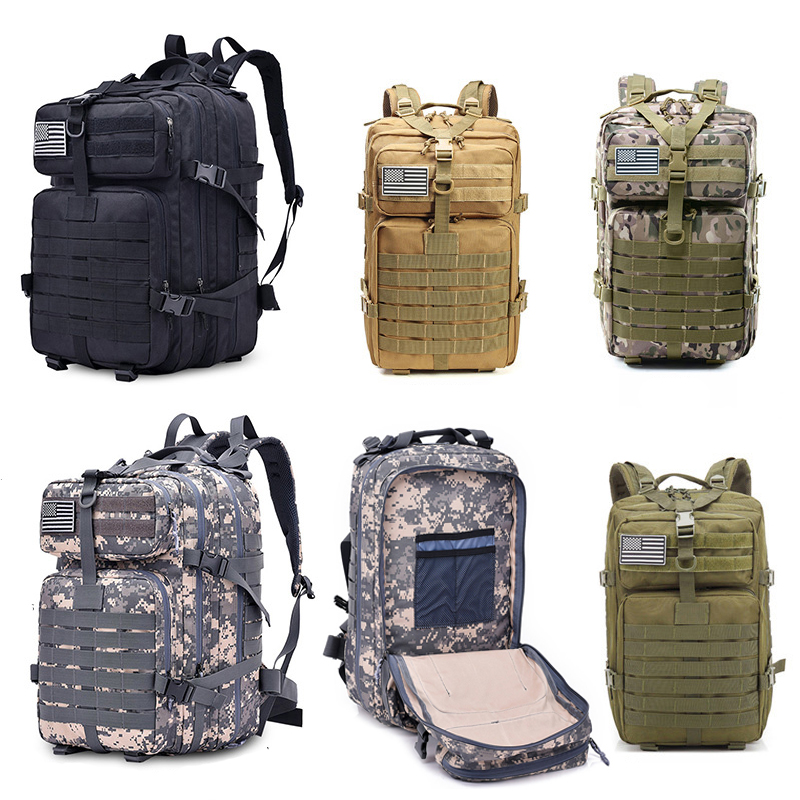 2019 Military Camouflage Backpack Assault Pack 45L Large Capacity Army Molle Waterproof Outdoor Bags Multifunctional Battle