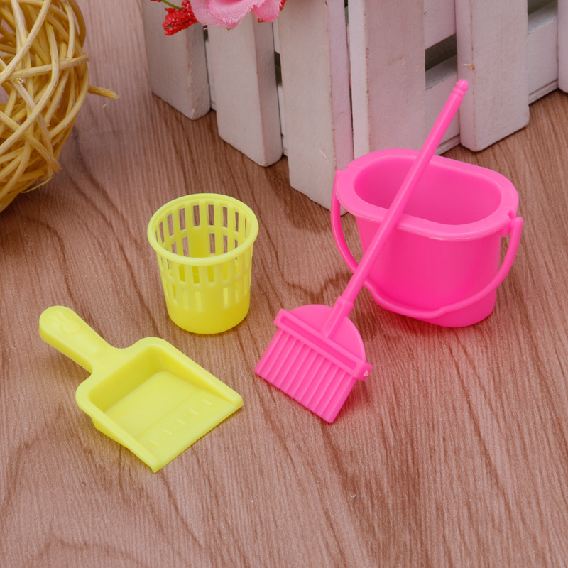 4Pcs Set Home Furniture Furnishing Cleaning Cleaner Kit For Barbie Doll House Set
