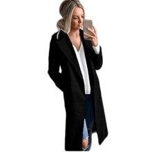 2017 Для женщин Новая мода Осень Длинные рукава узкие теплые куртки с отложным воротником Повседневная официальная одноцветное длинное шерстяное пальто Верхняя одежда Топы