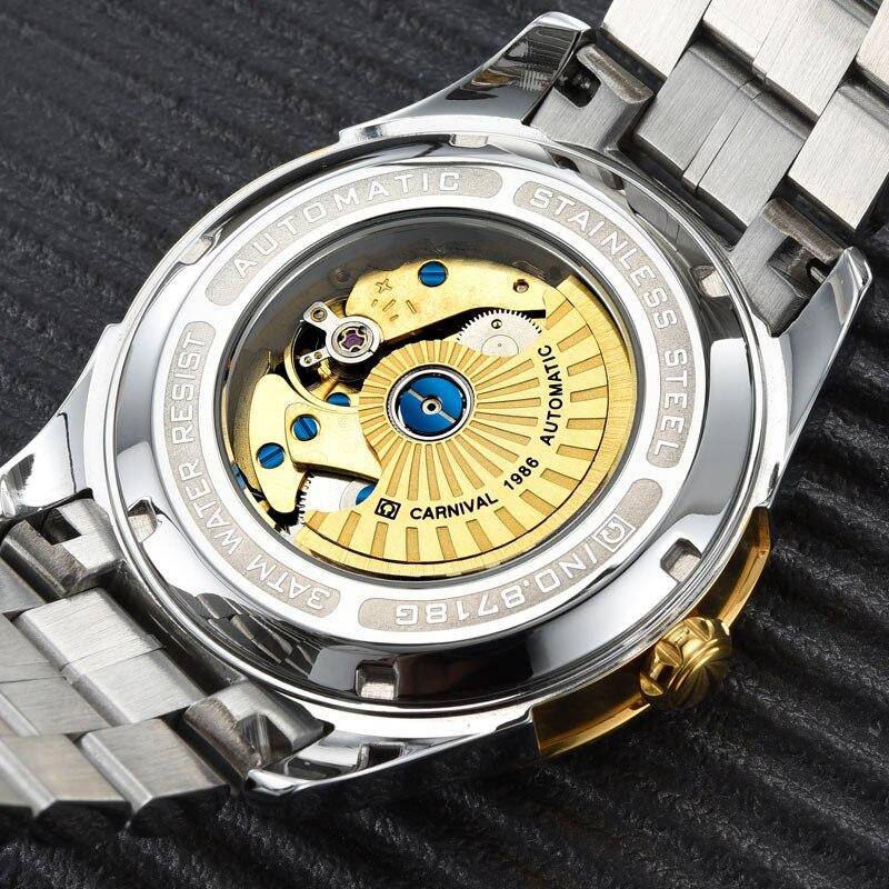 Carnaval Mechanisch Horloge 40mm Zakenlui Horloge Waterdicht 24 uur, Lichtgevende Rvs Luxe Merk Horloge Zegarki Meskie-in Mechanische Horloges van Horloges op  Groep 3