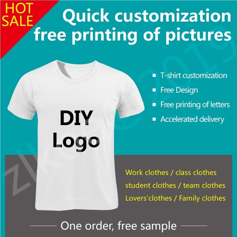 2019 Customized T Shirt Men Woman Female Print Your Own Design High Quality Send Out In 3 Days White Color