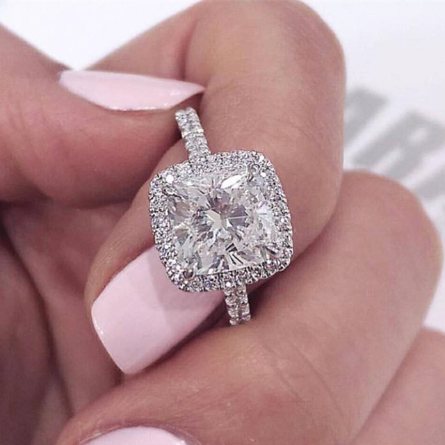 925 Sterling Silver Wedding Engagement promise Rings Pink blue for Women gold Wholesale Jewelry Finger solid design R820