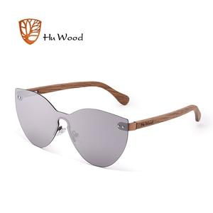 Image 2 - HU WOOD nuevas gafas de sol de moda hombres mujeres mariposa gafas de sol marco de madera Natural sin montura para conducir, para pescar UV400 GR8025