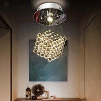 Round Small Corridor Living Room LED Crystal Chandelier Balcony Porch Light Kitchen Chandelier Cristal