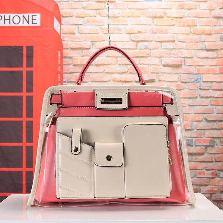 Nouvelle mode dame sacs transparents sac à main Explosion européenne et américaine Multi poche Double sac haute qualité offre spéciale Pu grand - 2