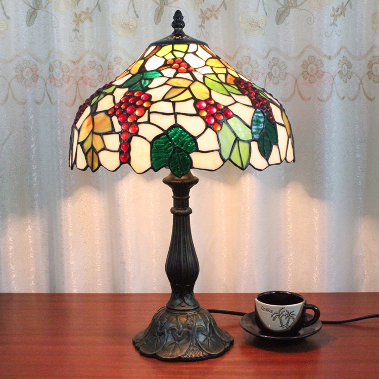 12 inch grape European tiffany style table lamp living room study bedroom dining room hotel bar