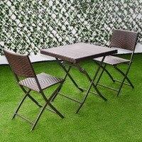 Giantex 3 шт. открытый складной стол, стул набор мебели из ротанга плетеная бистро патио коричневая мебель HW51580