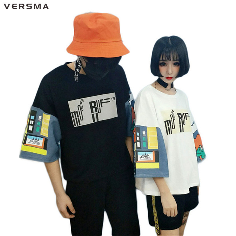 VERSMA 2017 Japonais Harajuku BF Patchwork Motif Imprimé T-shirt Hommes Femmes D'été De Mode Lâche Tops T-shirts T-shirt Couple Vêtements