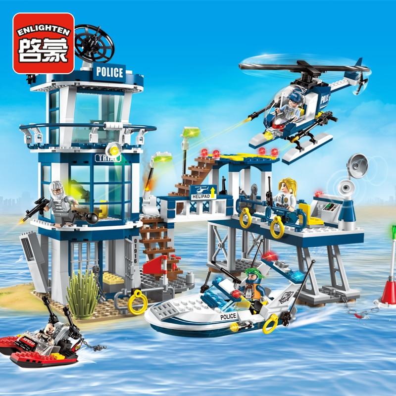 Praktisch Erleuchten Baustein City Police Rettungs Plan Yacht Helicoper Boot 5 Zahlen 565 Stücke Moc Bildungs Ziegel Spielzeug Jungen Geschenk-keine Box