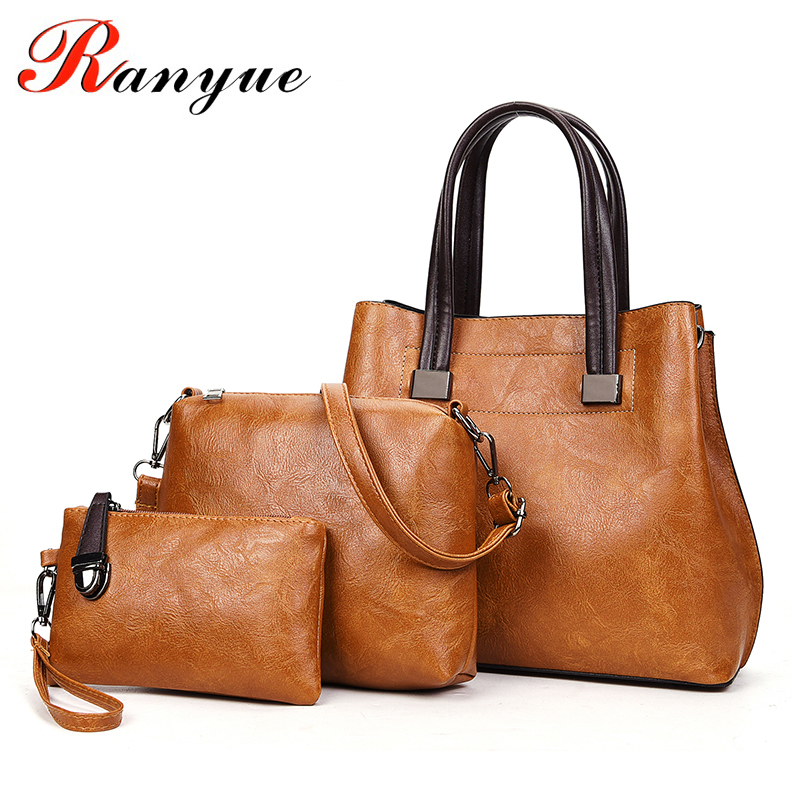 RANYUE Famous Brand Women Bag Top-Handle Bags Fashion Lady Messenger Handbag Set PU Leather Composite Bag Bolsa Femina 3pcs/Set pongwee 2017 women messenger bags handbag set pu leather composite bag women bag top handle bags female famous brand