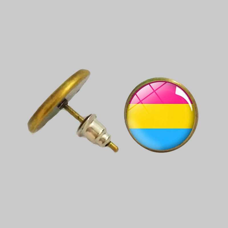 Лбгт Радуга гордости круглые серьги-шпильки Стекло серебряные серьги-гвоздики гей лесби Би транссексуалов украшения принадлежности