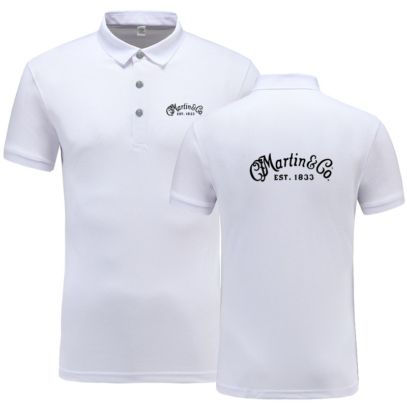 New Summer Short-sleeve   Polo   Homme High Quality Cotton Fashion Martin Guitar Martin & Co.1833 logo Print   Polo   Shirt