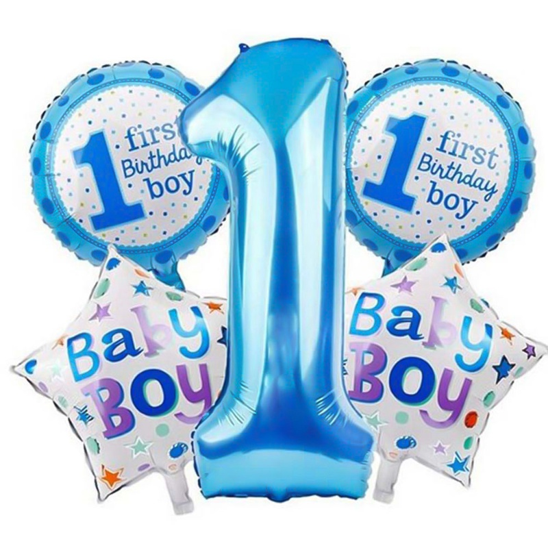 5 Pcs Baby 1st Balloons Set Pink Blue Number Foil Air Balls Boy Girl Toys Decorations For Kids Supplies