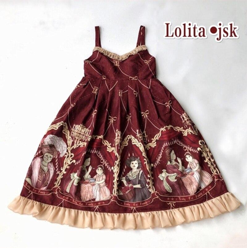 Kawaii JSK Lolita robe imprimée mme Cat Kawaii mignon robe rouge foncé arc européenne rétro princesse robes Cosplay Costumes