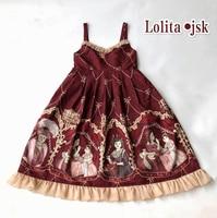 Kawaii JSK Lolita Dress Printed Mrs. Cat Kawaii Cute Dark Red Dress Bow European Retro Princess Dresses Cosplay Costumes