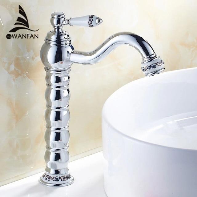 Basin Faucets Brass Chrome Tall Bathroom Sink Faucet Ceramics Single Handle Deck Mounted Mixer Tap Torneira Banheiro JCS-5868