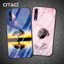 OTAO Luxury Tempered Glass Phone Case For Huawei P20 P10 Pro Mate 10 9 Nova 2 2s 3 Cases For Honor Play 8 9 Note 10 Back Cover(China)