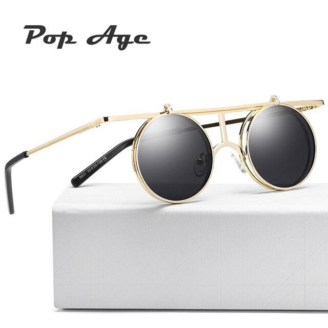 3f589f2f2e893c € 7.99 50% de réduction Pop Âge 2018 Nouveau Steampunk Lunettes De Soleil  Rondes Designer Flip lunettes de Soleil En Métal Femmes Revêtement ...
