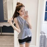 2018 Fashion V Neck Lace Summer Tops Korean Sleeveless Chiffon Shirt Plus Size Woman Clothing New Striped Blouse Free Shipping
