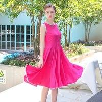 VOA Plus Size Silk Sleeveless Solid Rose Red Casual Midi Dress Cute Beach Elegant Women Mid Waist Pleated Dress Summer AJX01101