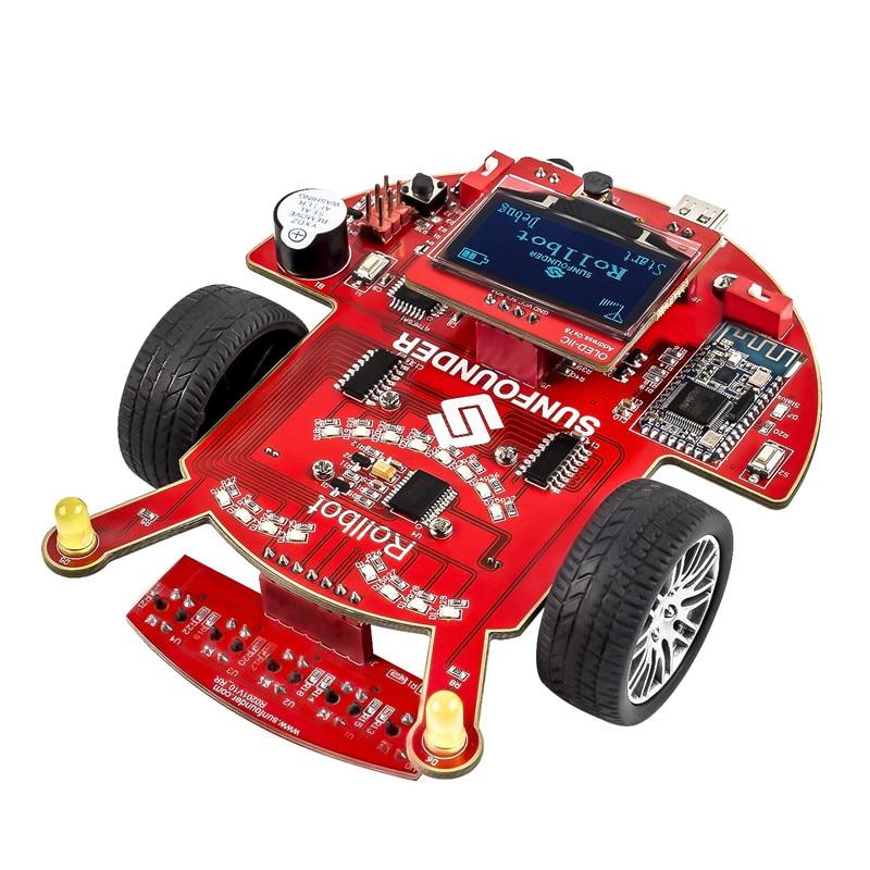 SunFounder SF-Rollbot STEM Learning Educational DIY Robot Kit GUI-Mixly for Arduino Beginner Bluetooth Module Infrared Sensor new basic starter learning kit upgrade version for arduino