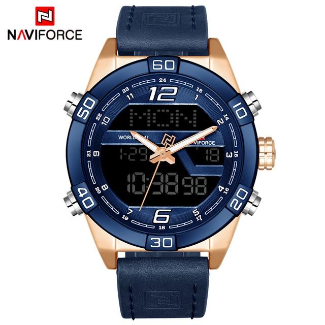 2018 naviforce Элитный бренд Для мужчин модные Спортивные часы Для Мужчин's Водонепроницаемый кварцевые часы мужские кожаные армейские Военная Униформа LED цифровые часы