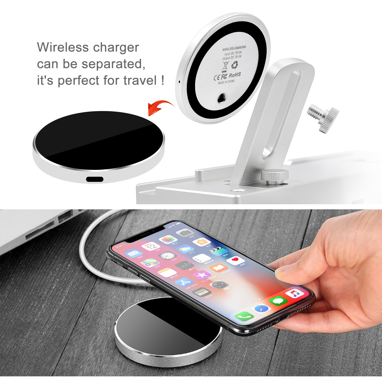 Image 5 - Lefon Qi Wireless Charger Charging Station for iPhone Samsung Smartphone Aluminum Charger Stand for Airpods Apple Watch Pencil-in Chargers from Consumer Electronics