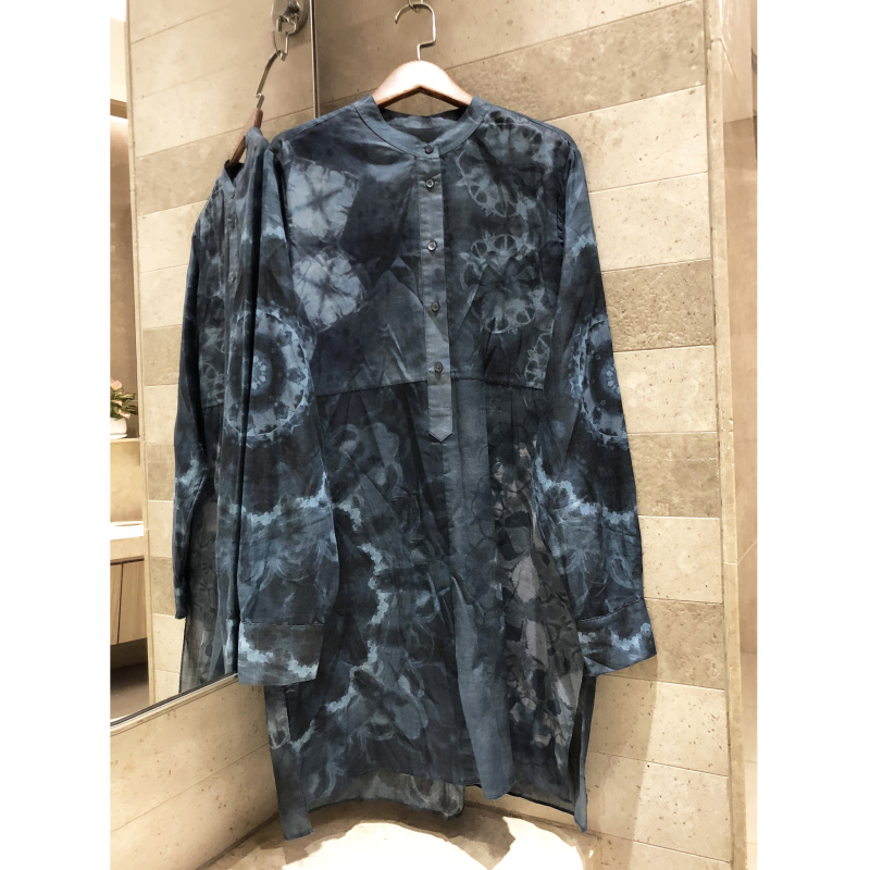 Ink tie dyed printing high grade breathable cotton loose split shirtdress stand collar dress