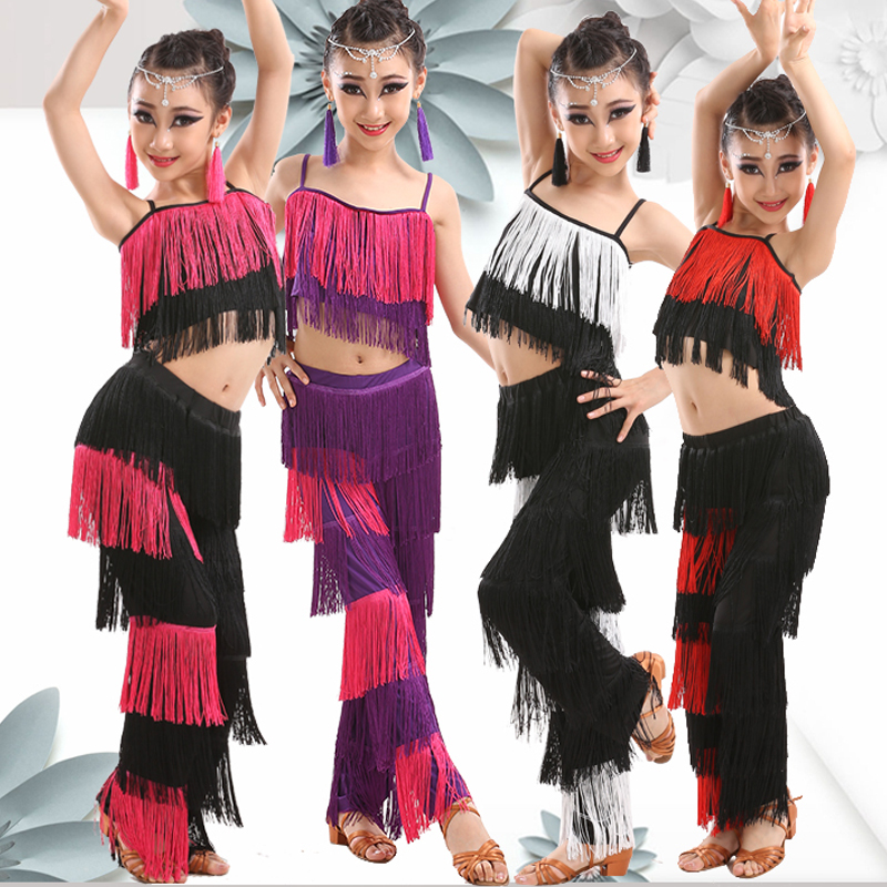 Kids Latin Dance Clothes For Girls Fringe Top+Pant Rumba Cha Cha Tango Ballroom Stage Costume Dance Competition Dresses BL1619