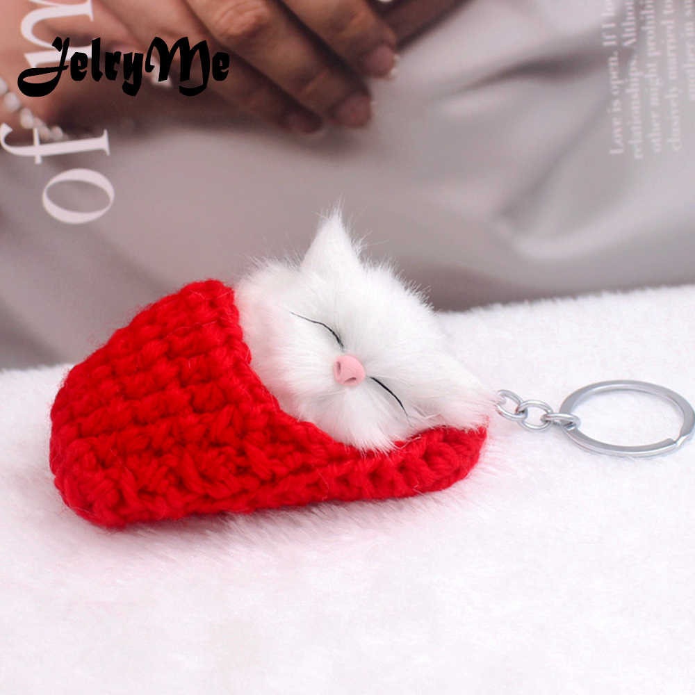 Cute Sleeping Cat Pompom Keychains For Women Girls Handmade Woven Shoes Faux Rabbit Fur Kitten Key Chains Fluffy Car Key Rings