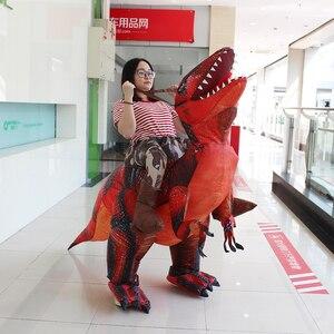 Image 2 - 大人の恐竜T REXインフレータブル衣装クリスマスコスプレに恐竜動物ジャンプスーツハロウィーンの衣装男性