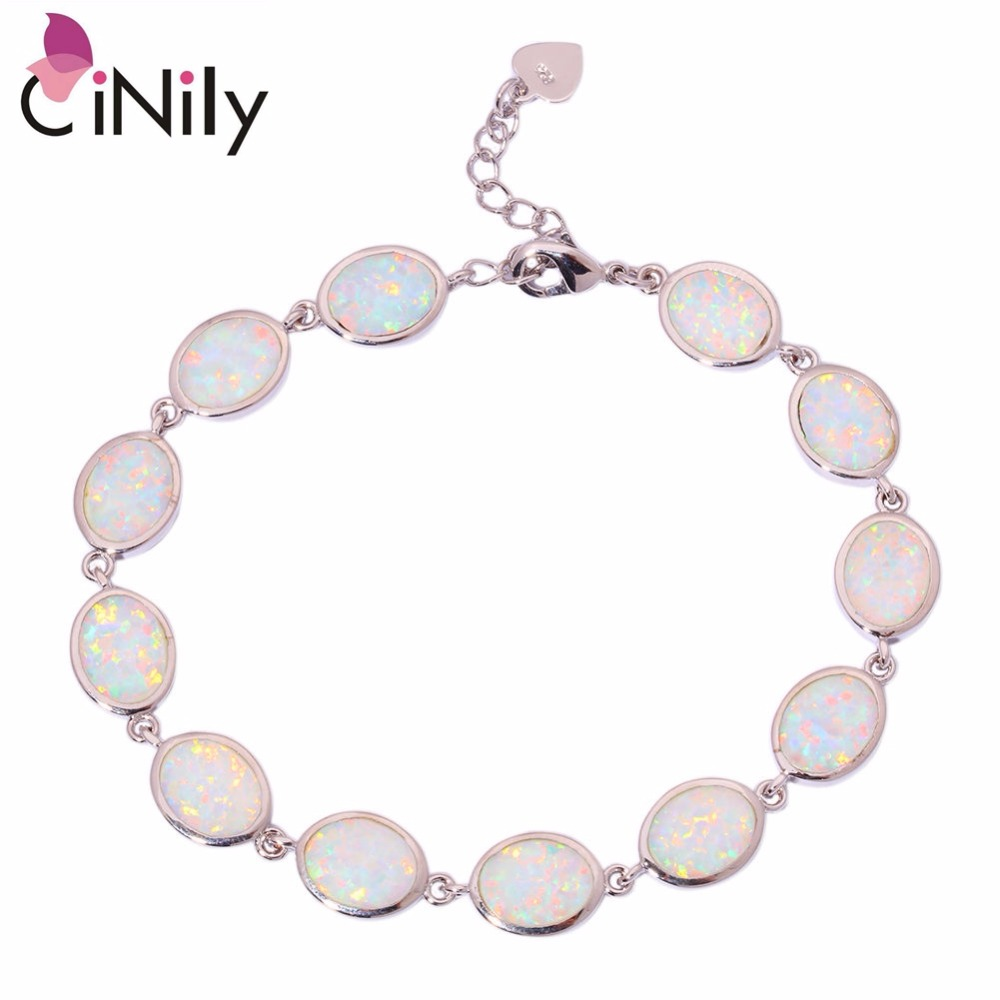 CiNily Created White Orange Blue Fire Opal Silver Plated Wholesale for Women Jewelry Chain Bracelet 7 1/8