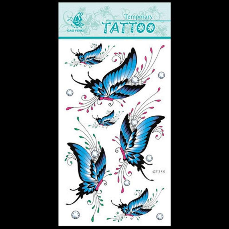 Nouveau Mode Creative Design DIY Étanche Autocollants De Tatouage Sexy  Papillon Bleu Motif De Tatouage Autocollants 12 PCS Lot 35b7876d0e51