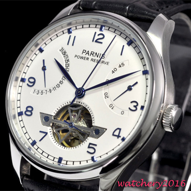 43mm parnis white Dial Blue Marks Power reserve Date mens watches top brand luxury leather strap Mens Automatic Movement Watch43mm parnis white Dial Blue Marks Power reserve Date mens watches top brand luxury leather strap Mens Automatic Movement Watch