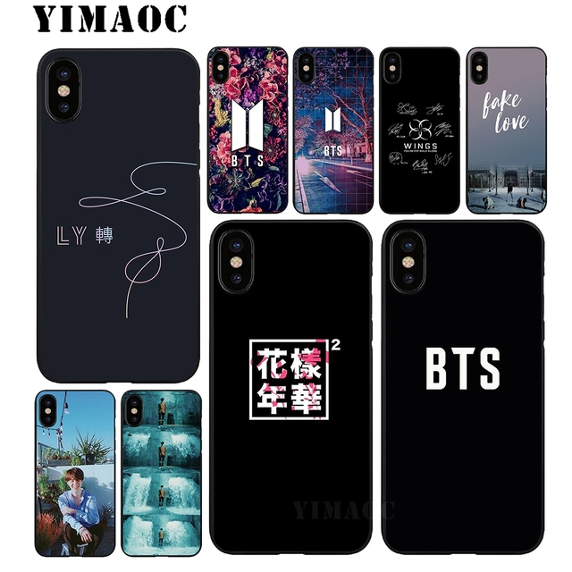 US $2 53 23% OFF|YIMAOC Bts Fake love K pop Soft TPU Black Silicone Case  for iPhone Xr Xs Max X or 10 8 7 6 6S Plus 5 5S SE-in Fitted Cases from