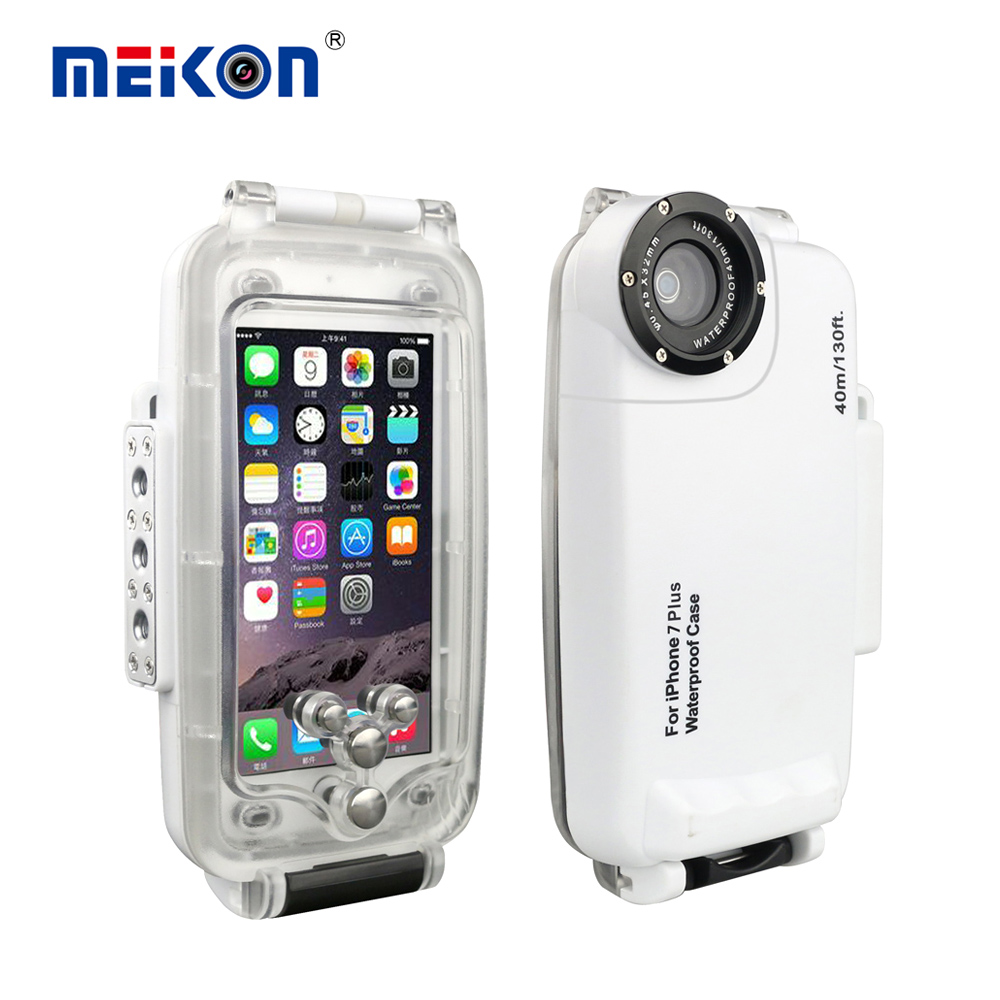 ФОТО 40M 130ft Meikon Underwater Waterproof Housing Case For iPhone7 & 7 Plus for Diving Swimming Sport Photography