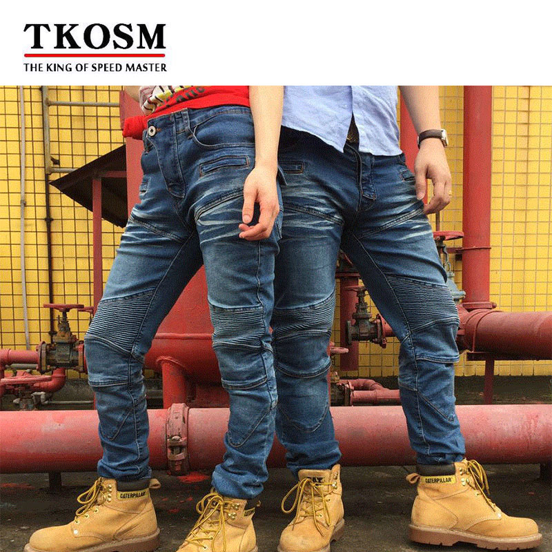 цена TKOSM Motorcycle Pants Riding Road Motor Windproof Pants Jeans Men Trousers Racing Windproof Motorbike Pants with Knee Pads