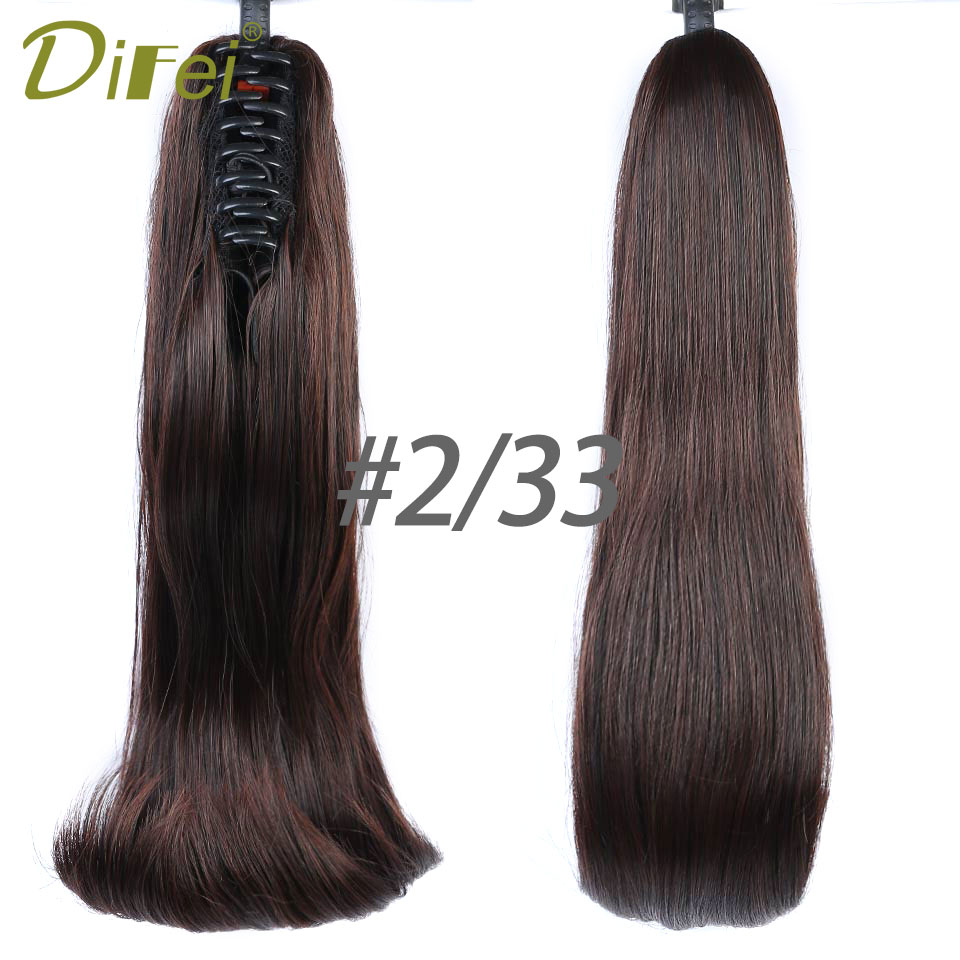 DIFEI Synthetic Women 16 120g Claw on Ponytail Clip in Pony Tail Hair Extensions Curly Style Hairpiece Black Brown hair piece