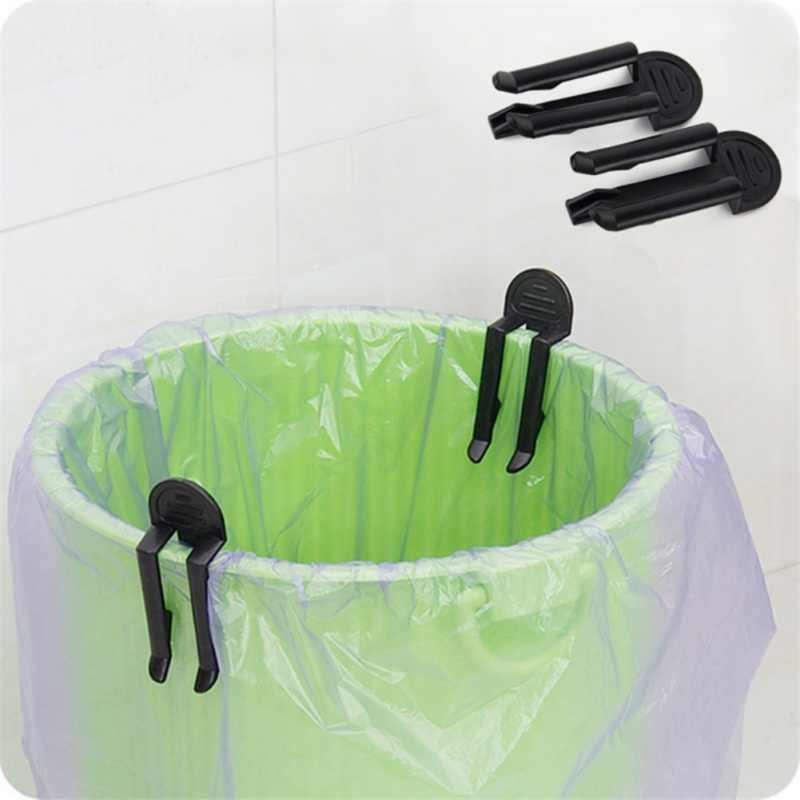 2 PCS Preto Saco Clipe de Plástico Lata de lixo Lixo Cesta De Lixo Pode Desperdiçar Bin Lixeira Saco Borda Clipe Design Prático para Home Office